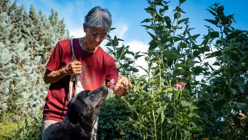 Sabine, auteure de cet article avec sa chienne Nymphe
